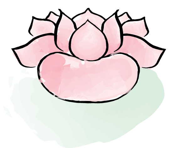 Digital watercolor painting of a pink lotus flower on a light green lilypad